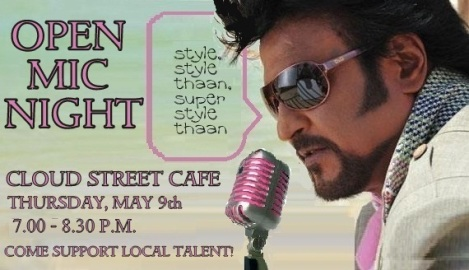Rajnikanth Open Mic Night Flyer